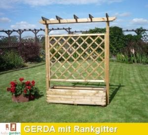 Pflanzkasten GERDA mit Rankgitter - Pergola aus imprägniertm Kie